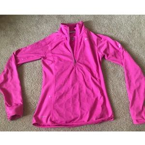 LNEW Nike Dri Fit Half Zip hoodie HOT PINK pocket